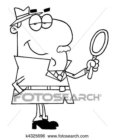 clip art outlined male detective fotosearch search clipart illustration posters drawings