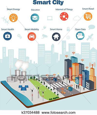 Clip Art Of Smart City Concept K37034488 Search Clipart