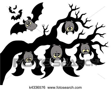 Clip art cartone animato pipistrelli appendere ramo - Contorno immagine di pipistrello ...