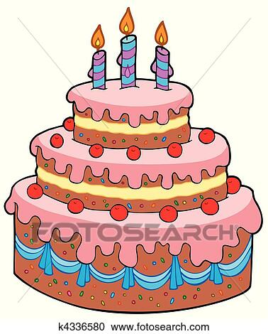Clipart Of Big Cartoon Birthday Cake K Search Clip Art - Graphic birthday cake