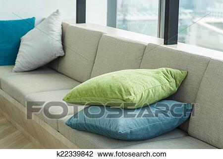 stock photo of decorative pillow on sofa k22339842