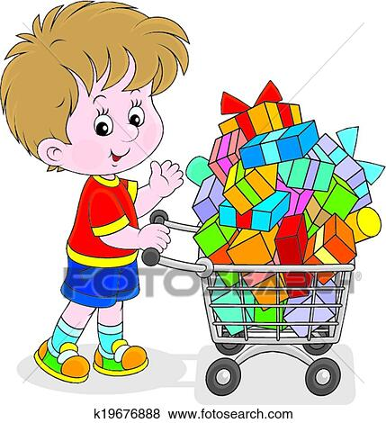 clip art of boy with a shopping trolley k19676888 search