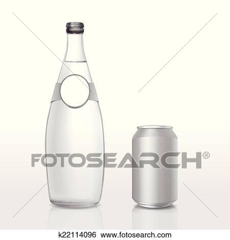 Glas leer clipart  Clip Art - glas flasche, und, büchse, mit, leer, etikett k22114096 ...