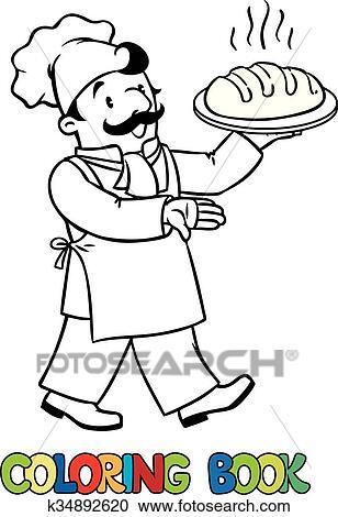 Clipart - ausmalbilder, von, lustig, koch, oder, bäcker, mit ...   {Koch bei der arbeit clipart 45}