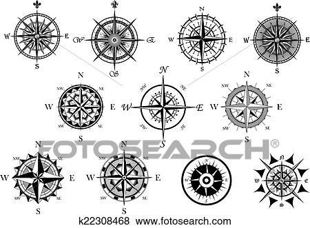 clipart nautique vent rose et compas ic nes ensemble k22308468 recherchez des cliparts. Black Bedroom Furniture Sets. Home Design Ideas