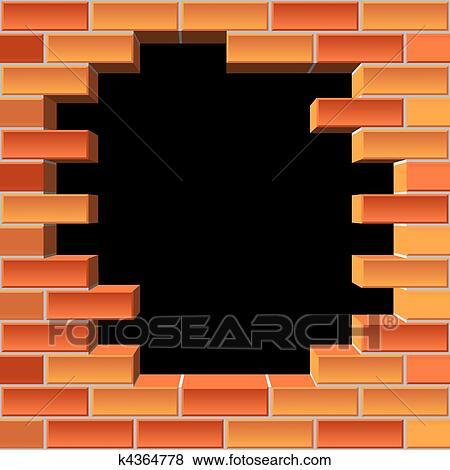 Clipart trou dans mur brique k4364778 recherchez des for Reboucher des trous dans le mur