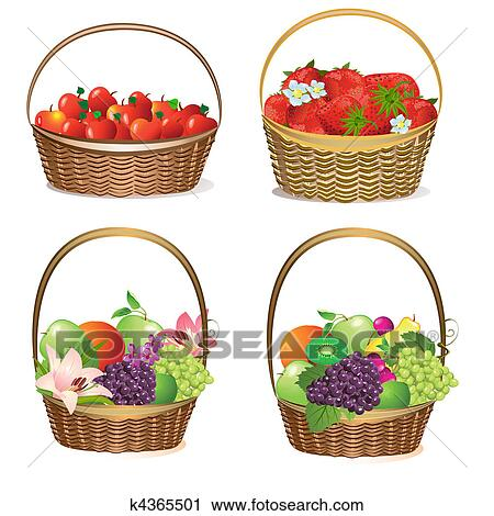 clipart of fruit and berry baskets k4365501 search clip