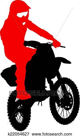 clip art of black silhouettes motocross rider on a motorcycle rh fotosearch com motocross cartoon clipart motocross racing clipart