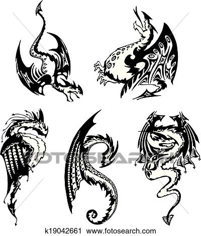 clipart satz von schwarz wei drachen k19042661 suche clip art illustration wandbilder. Black Bedroom Furniture Sets. Home Design Ideas