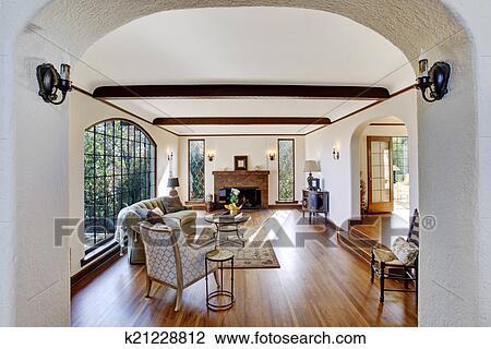 stock foto wohnzimmer mit firepalce in luxus. Black Bedroom Furniture Sets. Home Design Ideas