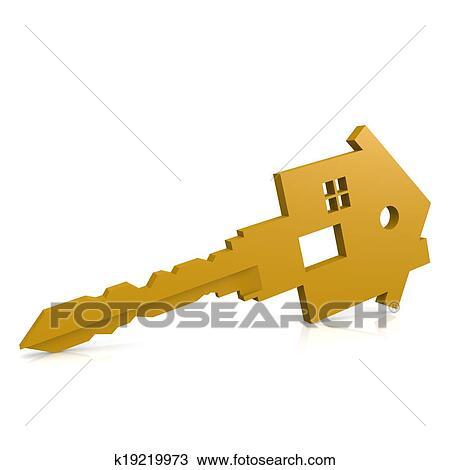 手绘图 - 房子钥匙, 隔离