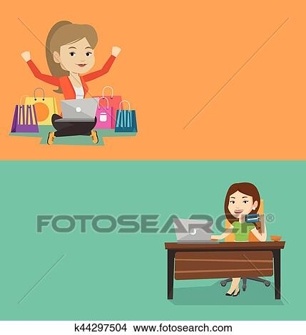 Female student studying clipart
