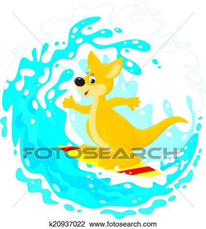 clipart of kangaroo surfer k20937022 search clip art illustration rh fotosearch com surfer clip art free surfing clipart free