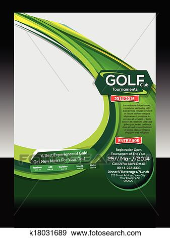 Clip Art Of Golf Flyer Template Vector K18031689 Search Clipart