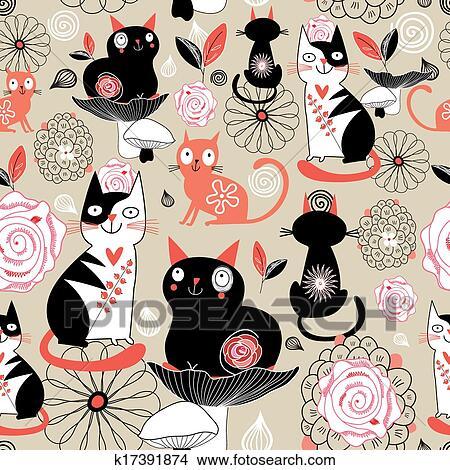 手绘图 - 植物群的模式, 带, 猫图片