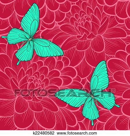 Clipart - seamless, fondo, con, mariposas, y, dahlias., Hand-drawn ...