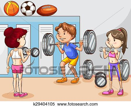 clipart of people working out in gym k29404105 search clip art rh fotosearch com gym clipart background gym clipart vector