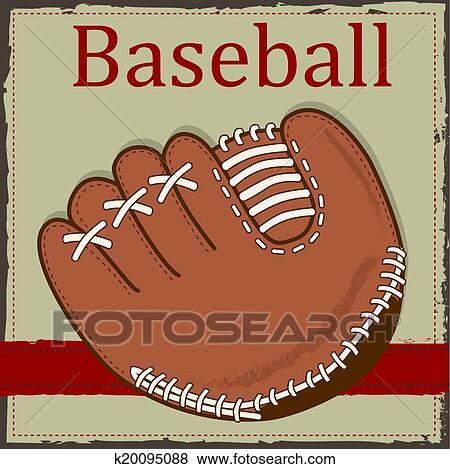 Clip Art of Vintage baseball glove or mitt layout ...
