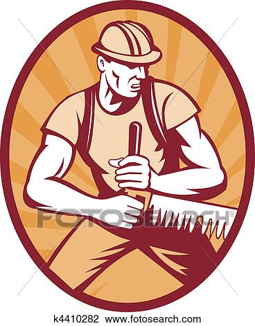 Clip Art of sawyer logger sawing crosscut saw k4410282 ...