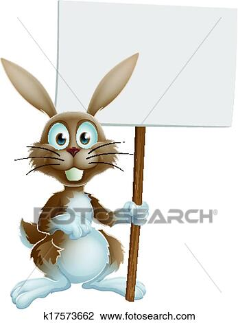 Clipart of Easter bunny holding sign k17573662 - Search Clip Art ...