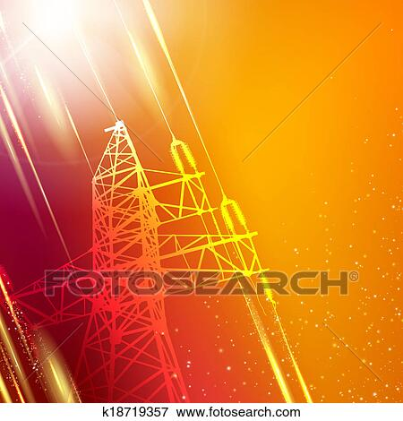 Stock Illustration Of Electric Power Transmission Tower K18719357