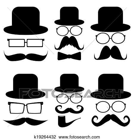 Clipart ensemble moustache chapeaux lunettes - Dessin de moustache ...