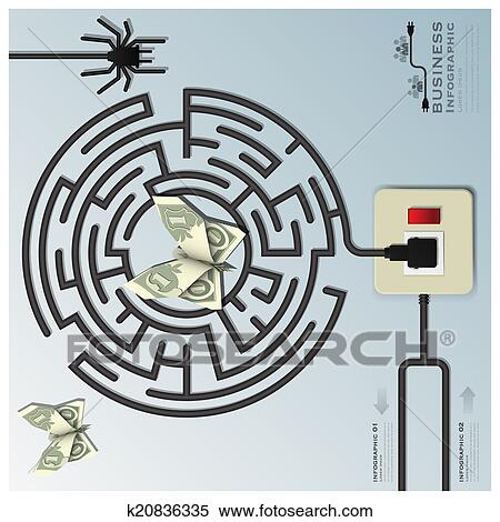 Clipart Of Maze Spider Web With Money Butterfly Electric Wire Line