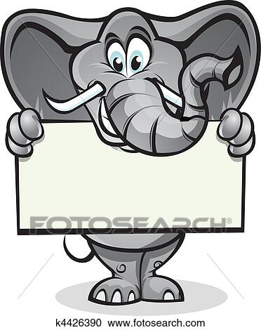 Clipart of Elephant holding sign k4426390 - Search Clip ...