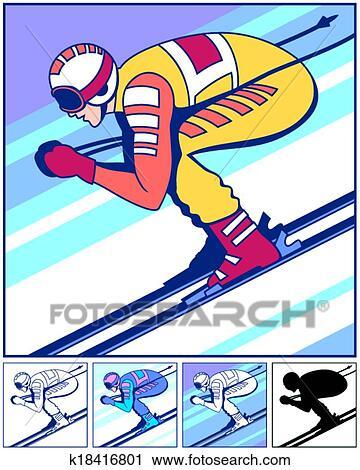 Clipart ski alpin k18416801 recherchez des clip arts - Ski alpin dessin ...
