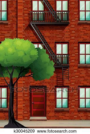 Apartment Building Graphic clip art of fire escape on the apartment building k30045209