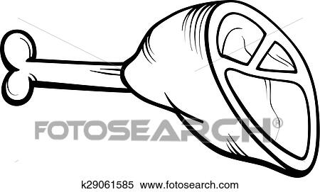 clipart ham meat cartoon coloring page fotosearch search clip art illustration murals