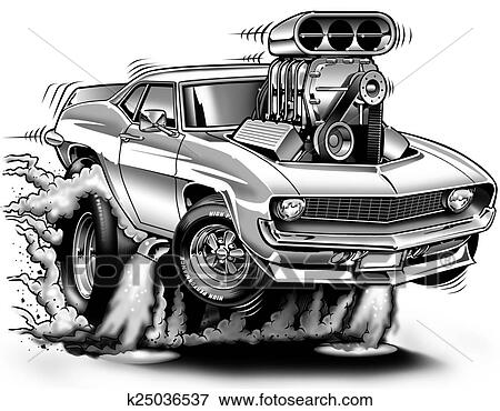 Cartoon Muscle Cars Drawings