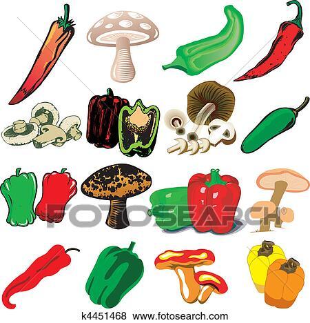 Clip Art - paddenstoelen, en, pepers k4451468 - Zoek ...