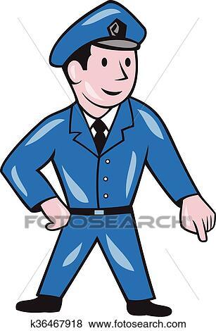 Clipart gendarme pointage bas dessin anim k36467918 - Gendarme dessin ...