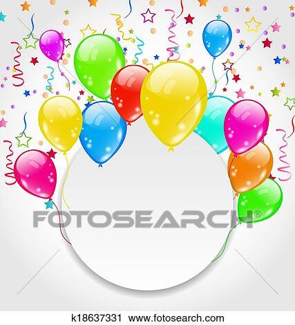 Clipart   Geburtstagseinladung, Mit, Mehrfarbig, Luftballone, Und, Confett