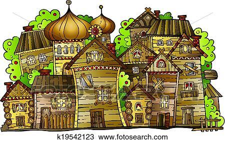 Clipart Of Cartoon Vector Russian Old Wooden Village