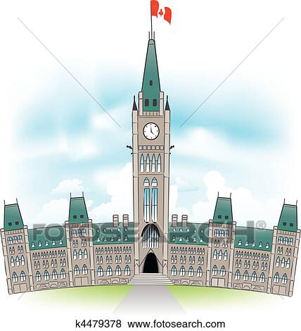 how to draw canadian parliament building
