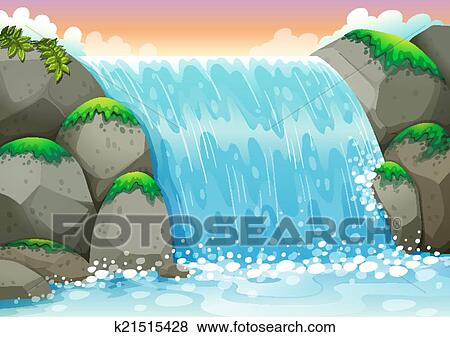 clip art of waterfall k21515428 search clipart illustration rh fotosearch com waterfall drawing clipart waterfall clipart free download