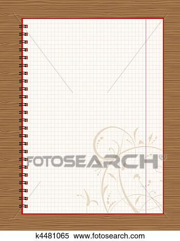 clipart notebook open page design on wooden background fotosearch search clip art