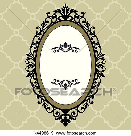 vintage frame design oval. Clip Art - Decorative Oval Vintage Frame. Fotosearch Search Clipart, Illustration Posters, Frame Design R