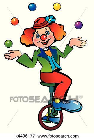 Clip Art of Funny clown juggler. k4496177 - Search Clipart ...