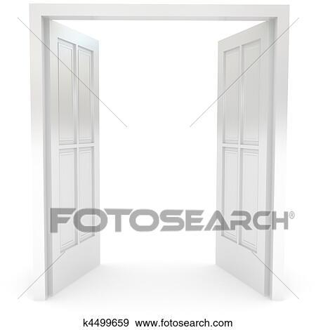 Door Opening Drawing Stock Illustration Open Door