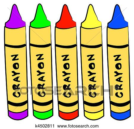 Clipart Of Five Different Color Crayons Standing K4502811