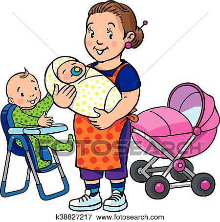 clip art of funny mother or nanny with children k38827217 search rh fotosearch com mother clipart black and white mothers clip art pictures