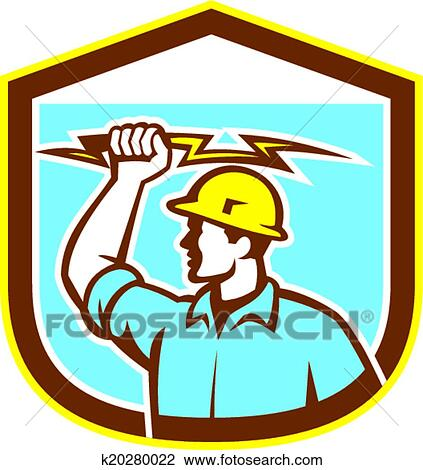 Clipart Of Electrician Holding Lightning Bolt Side Shield