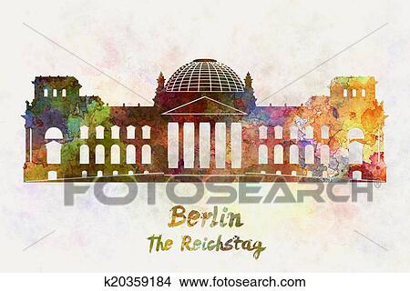 Drawings of Berlin Landmark The Reichstag in watercolor k20359184 ...