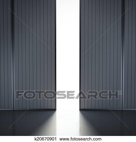 Clipart luce in aperto hangar porte k20670901 for Porte hangar