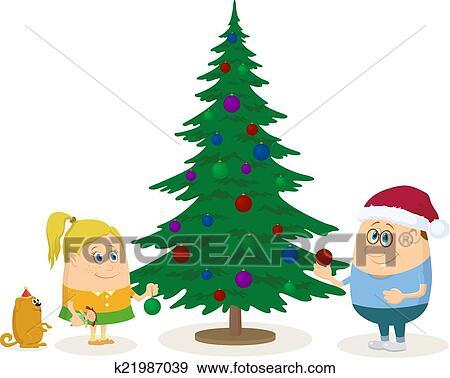 Clipart - enfants, et, noël, arbre sapin k21987039 - Recherchez ...