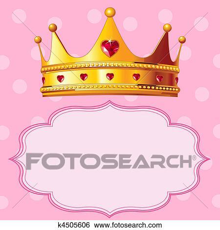 Clipart couronne princesse sur arri re plan rose - Clipart couronne ...