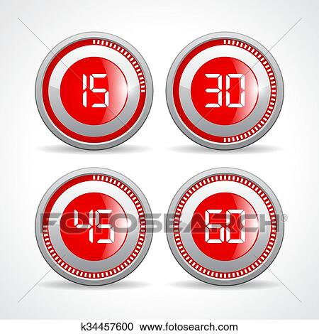 Clipart Of Timers Set 15 30 45 60 Minutes K34457600